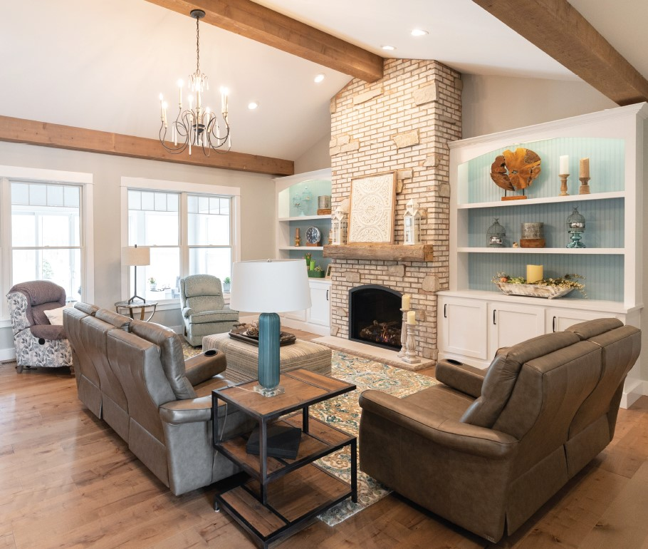 French Country Custom Home Family Room