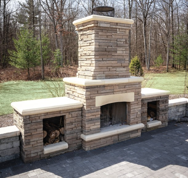 French Country Custom Home Fireplace